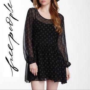 Free People Baby Dee Black Chiffon Dress XS
